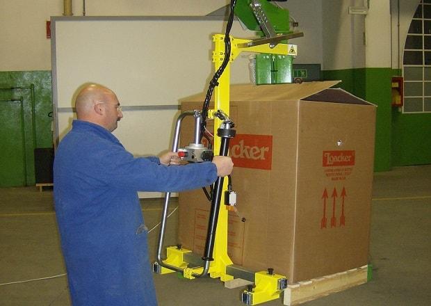 handling large size cardboard cases.