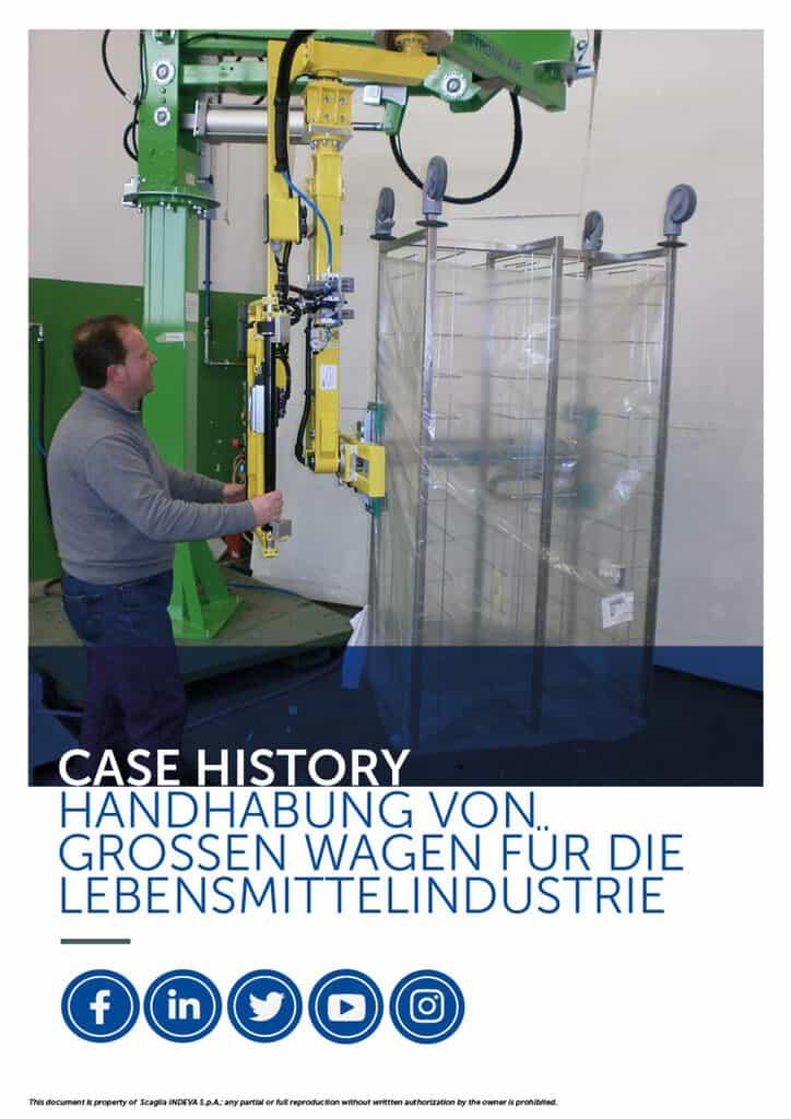 Die Erfolgsgeschichten von Indeva: Handhabung großer Wagen für die Lebensmittelindustrie, Erhöhung der Ergonomie und Sicherheit im Unternehmen.