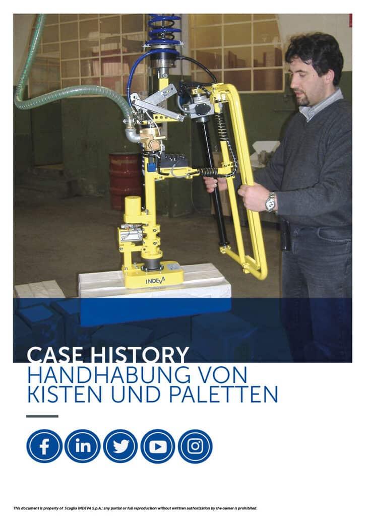 INDEVA-Erfolgsfälle: Handhabung von Kisten und Paletten mit Manipulatoren zur Steigerung der Ergonomie und Sicherheit im Unternehmen.