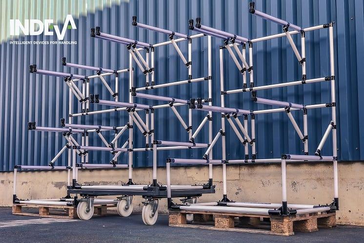 Das INDEVA Lean System ist also ideal für die Konstruktion und Montage von internen Materialtransportwagen.