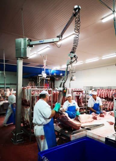 Handling meat with an INDEVA Liftronic Easy