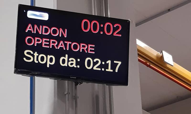 Entlang der Produktionslinie wurden 10 Wi-Fi-verbundene Bildschirme installiert, die mit dem INDEVA® Supervisor kommunizieren, so dass jeder Bediener die Taktzeit im Auge behalten kann.
