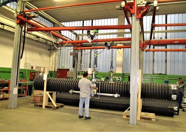 Schienenmontierter Manipulator für große und schwere Rohre