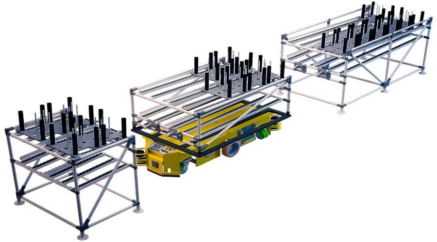INDEVA Lean System-Trolleys können auch für den Transport größerer Boxen eingesetzt werden. Zur Lastübergabe werden gerne schwerkraftbetriebene Rollenbahnen verwendet