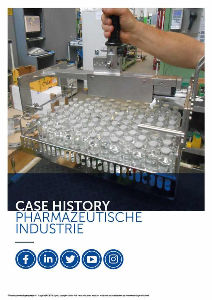 Die Fallbeispiele von INDEVA: Handhabung von Artikeln in der Pharmaindustrie in absoluter Ergonomie und Sicherheit, Steigerung der Produktivität.